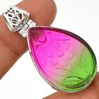 Carved - Multi Tourmaline 925 Sterling Silver Pendant  Jewelry PP26589