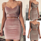 Women Stretch Bodycon Spaghetti V-Neck Short Crop Top Knee Skirt Ladies Set Suit