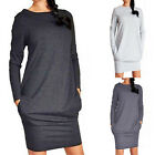 Elegant Women Ladies Stretch Crew Neck Bodycon Long Sleeve Midi Dress S-XL 2017