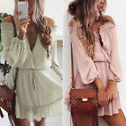 Boho Womens Long Sleeve Off Shoulder Summer T Shirt Loose Top Blouse Mini Dress