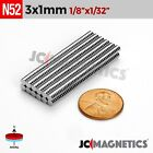 "100 500 1000pcs 3mm x 1mm 1/8""x1/32"" N52 Rare Earth Neodymium Crafts Magnet Disc"
