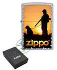 Personalised Engraved Zippo Lighter Satin Chrome Hunter with Dog Design 60002907