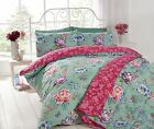 Sapporo Teal Pink Reverse Floral Bright Duvet Cover Bedding Quilt Set