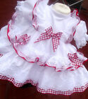 DREAM GIRLS XMAS WHITE RED X FRILLY ROMANY SPANISH FULLY LINED DRESS 0-6 YEAR
