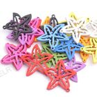 30pcs Mixed Wood  Five-Pointed Star Beads Charms Jewelry Findings 25MM