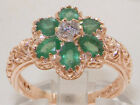 Solid 9ct Rose Gold Natural Emerald & Diamond Art Nouveau style Ring