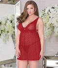iCollection Plus Size Dot Mesh And Lace Babydoll Set, Lingerie - Women's