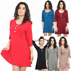 Womens Ladies 3 Button Short Turn Up Sleeve Maternity Flared Swing Skater Dress