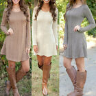 Women Long Sleeve Jumper Dress Winter Sweater Cocktail Evening Party Mini Dress