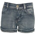 Littoe Potatoes Little Girls Blue Vintage Denim Folded Cuff Trendy Shorts 4-6X