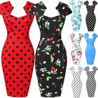1950s Womens Vintage Retro Dress Bodycon Pencil Midi Cocktail Wiggle Party Dress