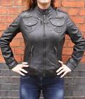 Womens Ladies Girls Soft Black Real Leather Bomber Style Jacket
