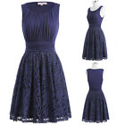 Women 1950s Retro Vintage Wedding Party Crew Neck Lace A-line Swing Dresses NEW