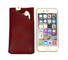 Real Genuine Leather Apple iPhone 8, 7, 6S, 6 Headphones Cover Case Pouch Sleeve