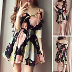 Korean Womens Off Shoulder Strap V Neck Chiffon Summer Floral Beach Dress S-XL