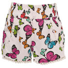 Real Love Little Girls White Multi Color Butterfly Print Trimmed Shorts 4-6X