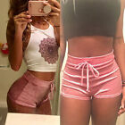 Fashion Women  Ladies Elastic Crushed Velvet High Rise Hot Pants Shorts Bottoms
