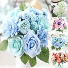 10 Head Artificial Fake Silk Rose Wedding Bridal Flower Bouquet Party Decor New