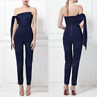 Women's Summer Jumpsuit Boat Neck Strapless Backless Pencil Pants High Waist NEW