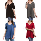 V Neck Tee Shirt Women Tops Blouse Irregular Short T-shirt Special Plus Fat Size