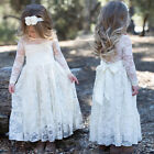 Girl Pageant Party Wedding Bridesmaid Princess Kid Formal Lace Ball Gown Dress
