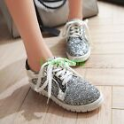 Womens Shoes Shiny Sequin Sneakers Lace Up Wedge Flats Chic Oxfords Leisure 2017