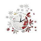 3D mirror wall clock creative wall stickers romantic flower clock decoration