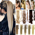 Clip In Ponytail Hair Extensions Wrap Around Pony Tail Real Natural As Human H76