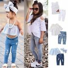 Toddler Kids Baby Girls Outfits Clothes T-shirt Tops Dress+Jeans Pants 2PCS Set