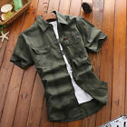 New Men's Shirt Jeep Rich Summer Casual Short Sleeve Cotton Plus Army