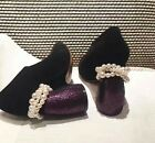 Womens Career Lady Pumps Shoes Chunky Heel Beads Decor Suede Lace Up Sz
