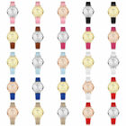 Women Girl Round Candy Colors Multicolor PU Leather Band Dial Quartz Wristwatch