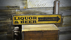 Custom Liquor & Beer Corner Store Arrow - Rustic Vintage Wooden Sign