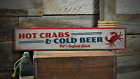Hot Crabs & Cold Beer, Custom Seafood - Rustic Distressed Wood Sign ENS1001236