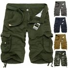 Casual Mens Cotton Summer Army Combat Pants Camo Work Cargo Shorts Trousers -38*