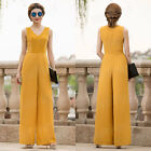 Women 2017 Lace Jumpsuit Yellow Long Loose Pants V-neck Sleeveless One-piece New