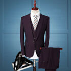 Formal Mens Suits Purple Dress 3 Piece Suit Fashion Wedding Groom Quality Gift