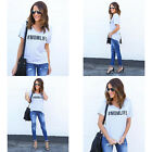 Loose T-shirt Letter Print  Graphic Tees Tops Fashion Women  Casual Short Sleeve