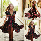 Plus Size Women Vintage Boho Long Maxi Evening Party Dress Summer Beach Dress