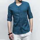 Men's Summer Casual Slim Fit Long Sleeve Stand Collar Shirt Tee Tops Plus Size