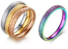Hot 4 colors Optional Stainless steel Frosted design 3MM Width womens mens ring