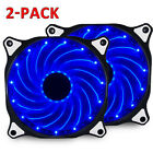2-Pack 15 LED 120mm PC CPU Computer Case Cooling Neon Quite Clear Fan Mod cooler