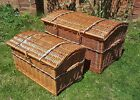 Wicker Storage Trunk Large Pirate Chest Willow Toy Bedding Blanket Chest 80&60cm