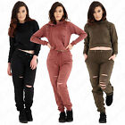 Women Ladies Distressed Laser Cut Out Jumper Sweatshirt Jogger Pant Loungewear S