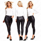 Womens Ladie Slit Ripped Laser Cut Wet Look Pvc Leather Stretchy Leggings Pants