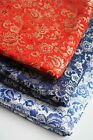 Oriental Chinese Brocade Tapestry Satin Fabric Floral