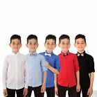 Boys Summer Casual Formal Linen Shirts Kids Long Sleeve Roll Up Sleeve Boy Shirt