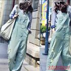 Womens Loose Fit Stonewashed Hole Ripped Wide Leg Jumpsuits Hip Pop Jean Trouser