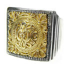 Gerochristo 2197 ~ Solid Gold & Sterling Silver, Medieval Chevalier Ring