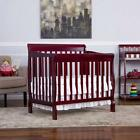 Convertible Baby Mini Crib 4-in-1 Aden Fixed-Side Toddler Nursery Full Size Bed